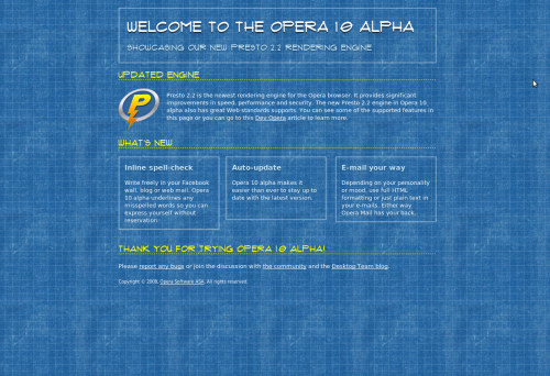 Opera 10 Alpha in action